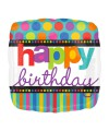 "PALLONCINO HAPPY BIRTHDAY DOTS PZ.1 MYLAR QUADRATO 18"" CM.45"