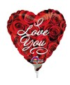 "PALLONCINI I LOVE YOU ROSE PZ.5 MYLAR CUORE 9"" CM.23 DA SALDARE ESCLUSA BACCHETTA"