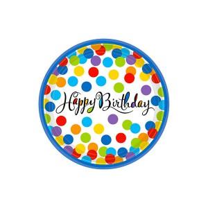 PIATTINI HAPPY BIRTHDAY CONFETTI PZ.18 CM.17.7 BIG PACK PC.18
