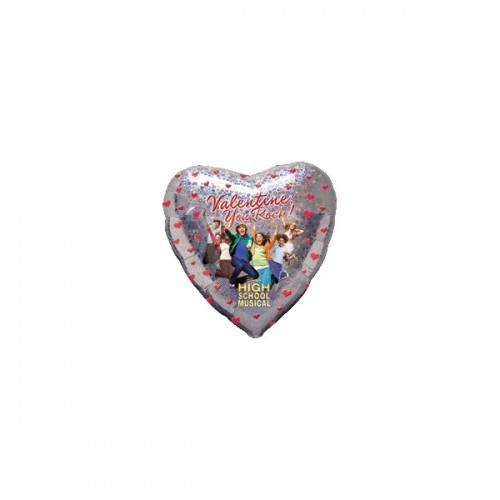 """PALLONCINO HIGH SCHOOL MUSICAL PZ.1 MYLAR CUORE 32"""" CM.81 HOLOGRAPHIC"""