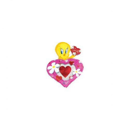 PALLONCINO TWEETY LOVE HEART PZ.5 MYLAR SAGOMATO CM.64 X CM.81