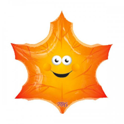 PALLONCINO FOGLIA SMILEY PZ.5 MYLAR SUPER SHAPE CM.63 X 63