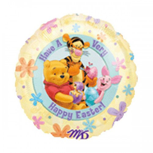 "PALLONCINO POOH EASTER PZ.1 MYLAR TONDO 18"" CM.45"