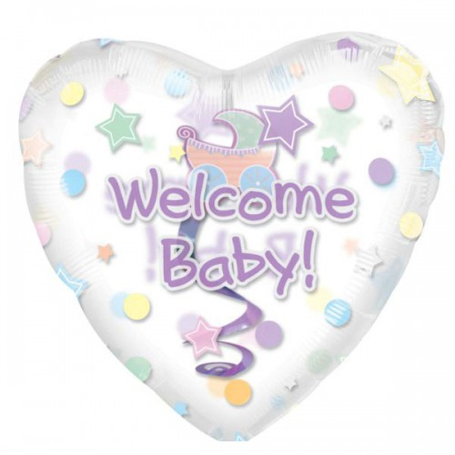 "PALLONCINO WELCOME BABY PZ.5 MYLAR CUORE 32"" CM.81 INSIDERS"