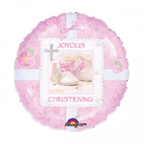 "PALLONCINO PINK CHRISTENING PZ.1 MYLAR TONDO 18"" CM.45"