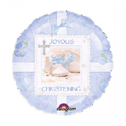 "PALLONCINO BLUE CHRISTENING PZ.1 MYLAR TONDO 18"" CM.45"