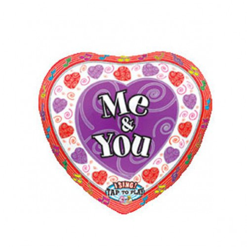 "PALLONCINO ME & YOU MUSICALE PZ.3 MYLAR CUORE 28"" CM.71 MUSICALE"