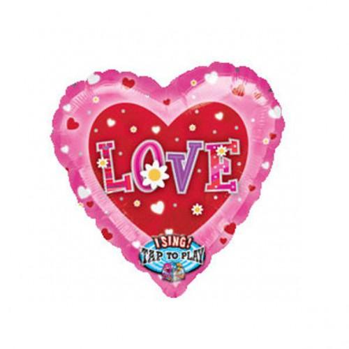 """PALLONCINO LOVE MUSICALE PZ.1 MYLAR CUORE 32"""" CM.81 MUSICALE"""