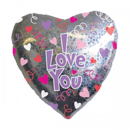 "PALLONCINO I LOVE YOU PZ.1 MYLAR CUORE 32"" CM.81 HOLOGRAPHIC"