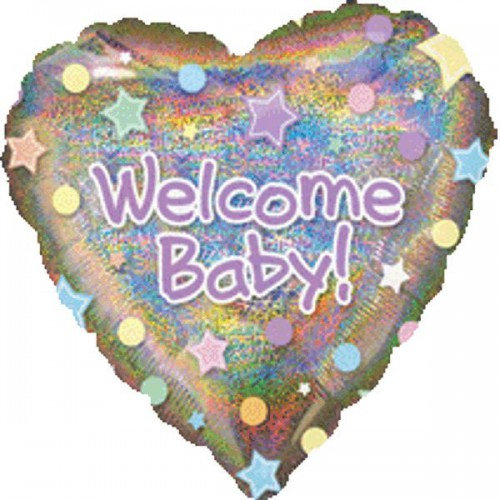 """PALLONCINO WELCOME BABY PZ.1 MYLAR CUORE 32"""" CM.81 HOLOGRAPHIC"""