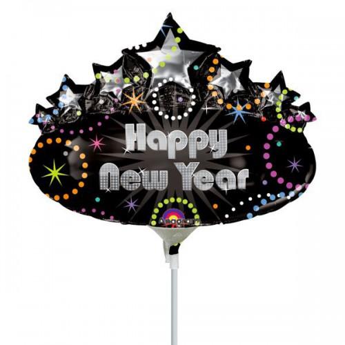 PALLONCINO HAPPY NEW YEAR PZ.5 MYLAR MINI SHAPE DA SALDARE ESCLUSA BACCHETTA