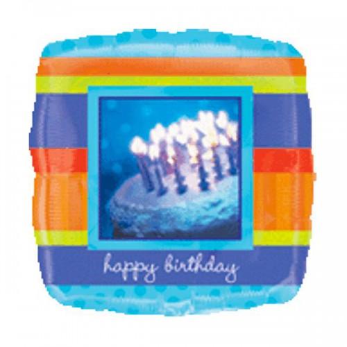 "PALLONCINO CAKE BIRTHDAY PZ.1 MYLAR QUADRATO 18"" CM.45 HOLOGRAPHIC"