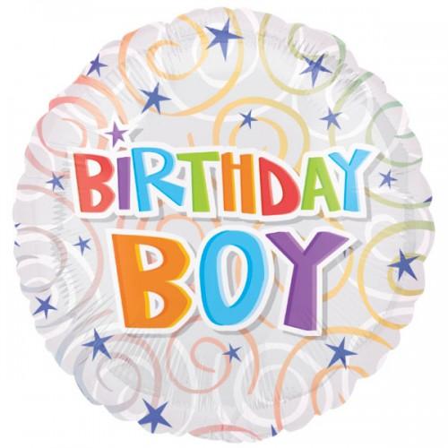 "PALLONCINO BIRTHDAY BOY SWIRLS PZ.1 MYLAR TONDO 18"" CM.45"