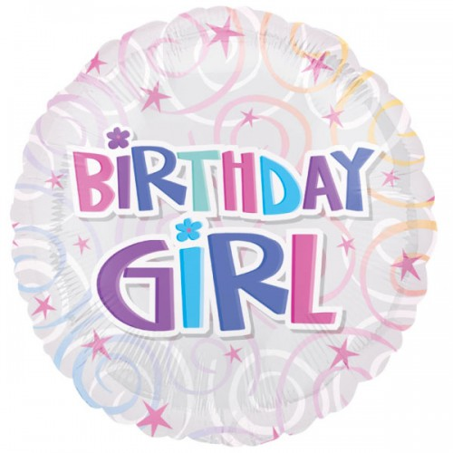 "PALLONCINO BIRTHDAY GIRL SWIRLS PZ.1 MYLAR TONDO 18"" CM.45"