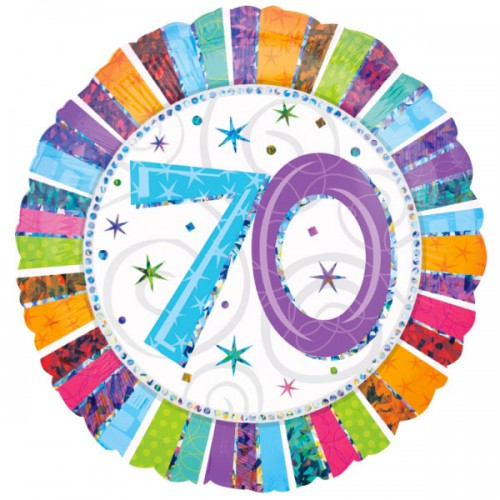 """PALLONCINO 70° COMPLEANNO RADIANT PZ.1 MYLAR TONDO 18"""" CM.45 PRISMATIC"""