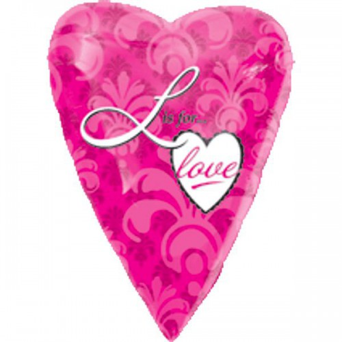 "PALLONCINI  L IS FOR LOVE PZ.1 MYLAR CUORE 18"" CM.45"