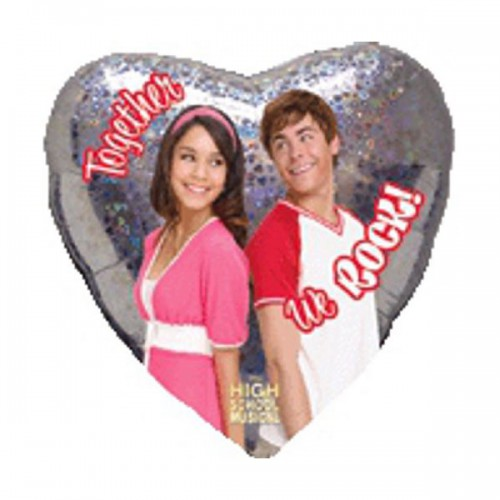 """PALLONCINO HIGH SCHOOL MUSICAL LOVE PZ.1 MYLAR CUORE 18"""" CM.45 HOLOGRAPHIC"""