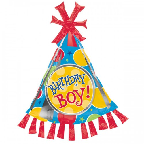 PALLONCINO  BIRTHDAY BOY PARTY HAT PZ.1 MYLAR SAGOMATO CM.89 X CM.64