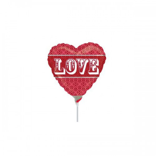 """PALLONCINO LOVE TAPESTRY PZ.5 MYLAR CUORE 9"""" CM.23 DA SALDARE ESCLUSA BACCHETTA"""