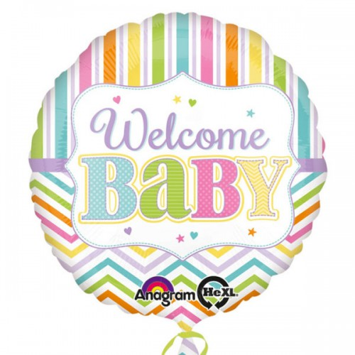 "PALLONCINO NASCITA WELCOME BABY PZ.1 MYLAR TONDO 18"" CM.45"