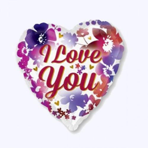 """PALLONCINI I LOVE YOU FIORI PZ.1 MYLAR CUORE 18"""" CM.45"""