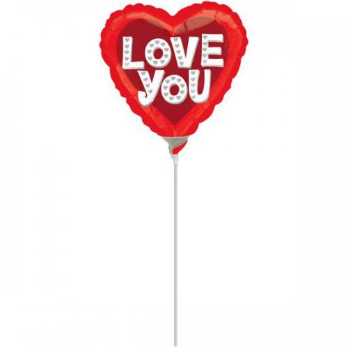 """PALLONCINI LOVE YOU PZ.5 MYLAR CUORE 9"""" CM.23 DA SALDARE ESCLUSA BACCHETTA"""