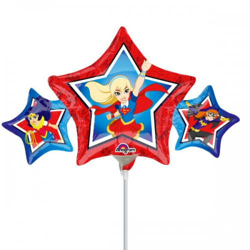 PALLONCINI DC SUPER HERO GIRL PZ.5 MYLAR MINI SHAPE DA SALDARE ESCLUSA BACCHETTA