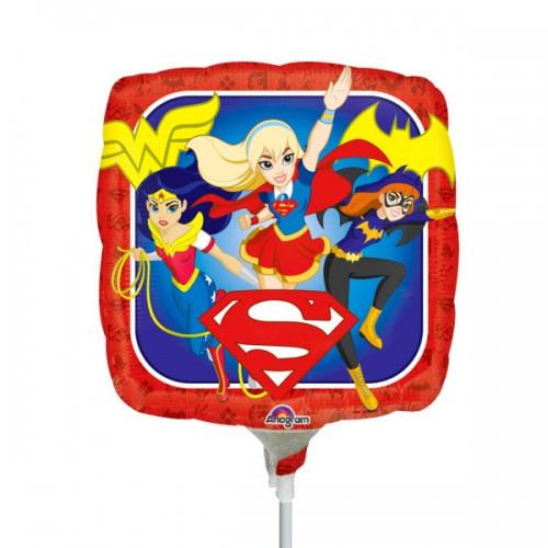 "PALLONCINO DC SUPER HERO GIRL PZ.5 MYLAR QUADRATO 9"" CM.23"