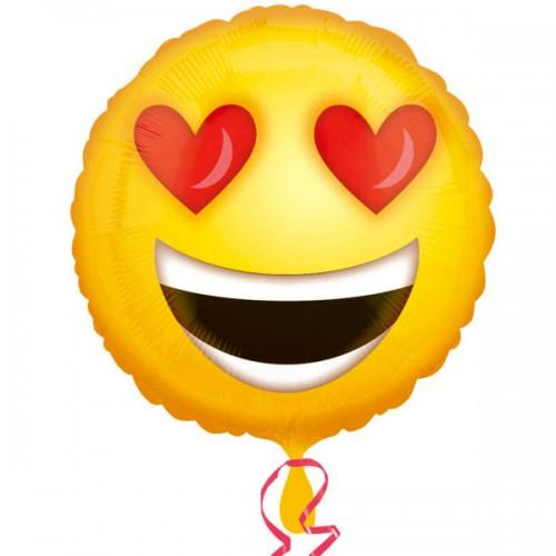 "PALLONCINI LOVE EMOTICONS PZ.1 MYLAR TONDO 18"" CM.45"