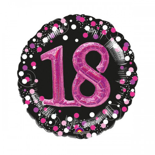 PALLONCINO 18 ANNI SPARKLING PINK PZ.1 MYLAR MULTI BALLOON CM.81