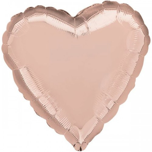 """PALLONCINO CUORE ROSE GOLD 17"""" PZ.5 MYLAR CUORE 17"""" CM.43"""