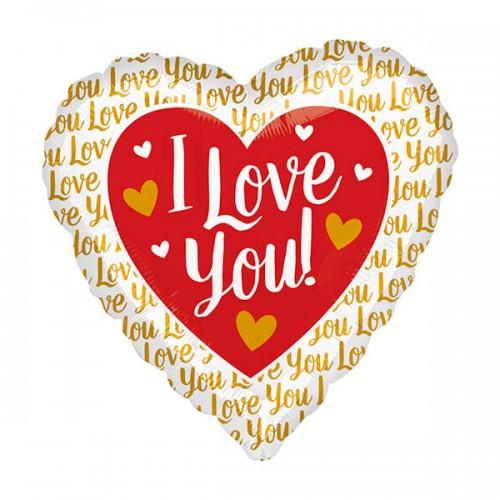 "PALLONCINI I LOVE YOU PZ.1 MYLAR CUORE 17"" CM.43"