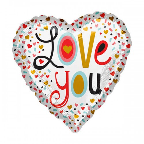 "PALLONCINI LOVE YOU PZ.1 MYLAR CUORE 17"" CM.43"