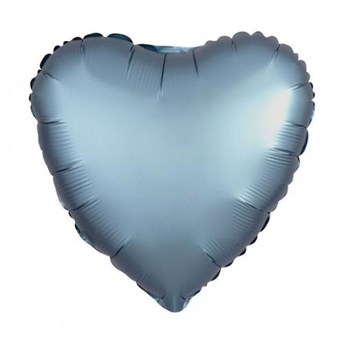 PALLONCINO SATIN LUXE STEEL BLUE PZ.1 MYLAR CUORE CM.43