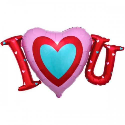 "PALLONCINO SATIN I LOVE YOU PZ.1 MYLAR SAGOMATO 33""/83cm w x 19""/48cm h"