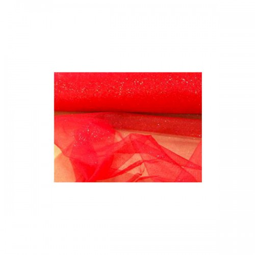 TULLE GLITTER ROSSO PZ.1 H. CM.12.5 XMT.100