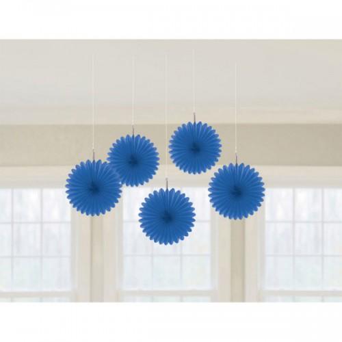 DECORAZIONE ROSONE BLU PZ.5 Decorazione in carta a forma di fiore cm.15,2