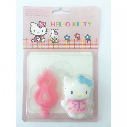 CANDELA NUMERO (8) HELLO KITTY  PZ.1 CM.9 - DECORAZIONE IN PLASTICA HELLO KITTY CON CANDELA.