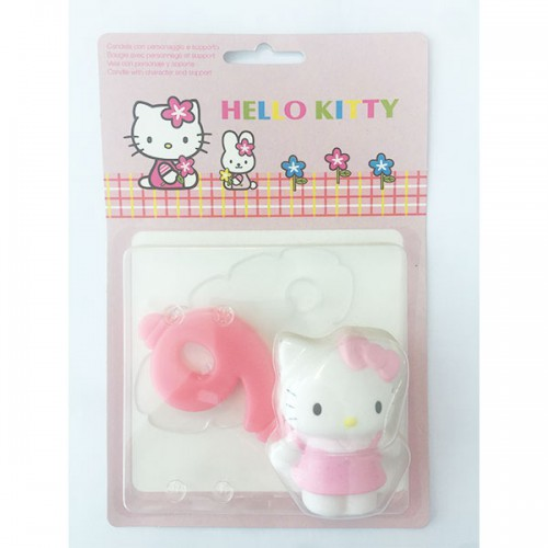 CANDELA NUMERO (9) HELLO KITTY  PZ.1 CM.9 - DECORAZIONE IN PLASTICA HELLO KITTY CON CANDELA.
