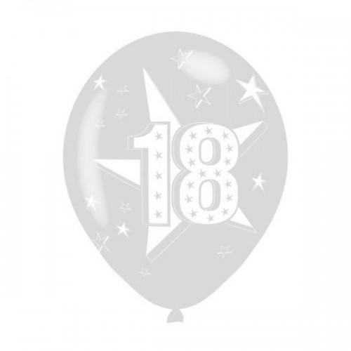 "PALLONCINO 18 ANNI STELLE (12"") PZ.100 COLORE STANDARD TRASPARENTE 390  STAMPA BIANCA CM.30"